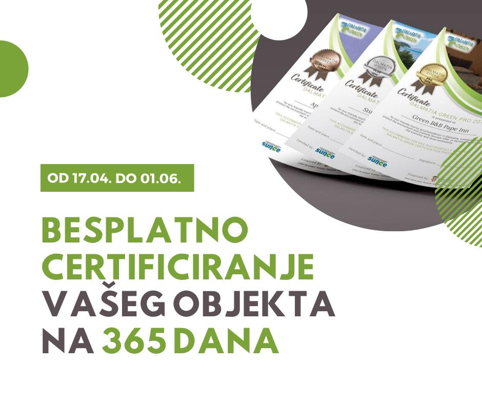 Akcija besplatnog certificiranja do 1. lipnja: postanite dio Dalmatia Green programa